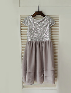 Sheath / Column Knee-length Flower Girl Dress - Chiffon / Sequined Short Sleeve Jewel with