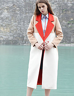 M Women's Casual/Daily Simple CoatColor Block Notch Lapel Long Sleeve Fall / Winter White Wool / Polyester