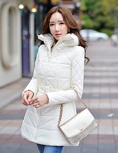 Damen Gefüttert Mantel,Lang Retro Street Schick Anspruchsvoll Ausgehen Lässig/Alltäglich Urlaub Solide-Nylon Polyester Ohne Füllmaterial