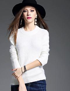 Damen Standard Pullover-Lässig/Alltäglich Einfach Solide Rundhalsausschnitt Langarm Acryl Winter Dick Mikro-elastisch