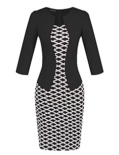 Women's Casual/Daily / Work Sexy / Street chic Bodycon Dress,Color Block Round Neck Above Knee ¾ Sleeve Blue / Red / Black / Purple
