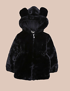 Unisex Casual/Daily Solid Down & Cotton Padded,Faux Fur Winter Long Sleeve