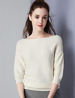 Damen Solide Einfach Lässig/Alltäglich Hemd,Bateau Herbst Langarm Weiß Baumwolle