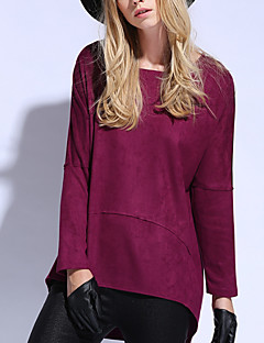 Women's Casual/Daily Cute Shirt,Solid Round Neck Long Sleeve Red Brown Polyester