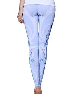 Yoga Pants Bottoms Compression High Inelastic Sports Wear Light Blue Women's Sports Yoga