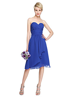 2017 Lanting Bride® Knee-length Chiffon Open Back Bridesmaid Dress - A-line Sweetheart with Draping Criss Cross Ruching