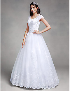 Ball Gown Queen Anne Floor Length Satin Tulle Wedding Dress with Beading Appliques by LAN TING BRIDE®