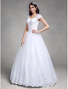 볼 드레스 웨딩 드레스 바닥 길이 퀸 앤 새틴 / 튤 와 비즈 / 아플리케