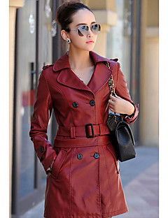 Women's Casual/Daily Simple Leather Jackets,Solid Long Sleeve Fall / Winter Red / Black Others Medium