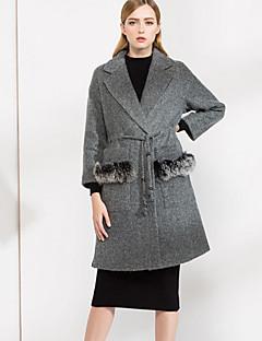 Feminino Casaco Casual Simples Outono Inverno, Sólido Preto Verde Lã PoliésterManga Longa Grossa