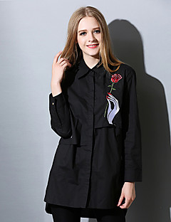 Women's Going out Work Street chic Spring Fall Shirt,Solid Embroidered Shirt Collar Long Sleeve Black Cotton Thin