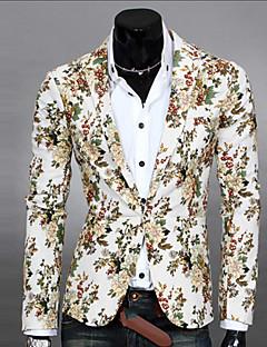 Men's Long Sleeve Regular Blazer , Cotton Blend Print