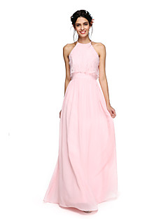 2017 lanting bride® vloer lengte chiffon elegante bruidsmeisje jurk - a-lijn halster met criss cross