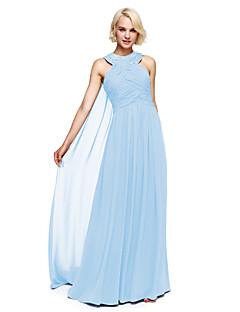 Lanting Bride® Floor-length Chiffon Bridesmaid Dress - Ball Gown Halter with Beading