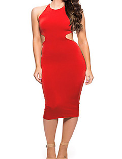 Women's Party/Cocktail / Club / Holiday Sexy Bodycon Dress,Solid Round Neck Midi Sleeveless Red Polyester Summer / Fall Mid Rise