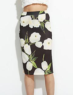 Damen Röcke - Street Schick Knielang Baumwolle Mikro-elastisch