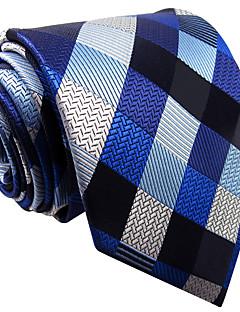 Hombre Corbata Vintage / Bonito / Fiesta / Trabajo / Casual-Rayón Cuadrícula-Azul Todas las Temporadas