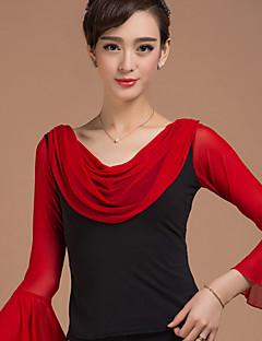 라틴 댄스 상위 여성용 훈련 레이욘 드레이프 / 도트 무늬 1개 긴 소매 내츄럴 위 Top S:55cm/M:55cm/L:55cm/XL:55cm/XXL:55cm