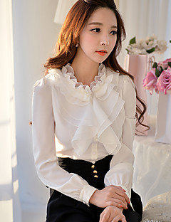 Women's Going out Formal Party/Cocktail Vintage Street chic Sophisticated Spring Fall BlouseSolid Stand Long Sleeve White