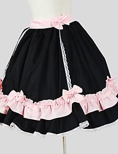 Saia Doce Rococo Cosplay Vestidos Lolita Preto Cor Única Sem Mangas Longuete Saia Para Feminino Algodão