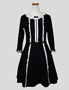 One-Piece/Dress Classic/Traditional Lolita Rococo Cosplay Lolita Dress Solid Long Sleeve Knee-length Dress For Cotton