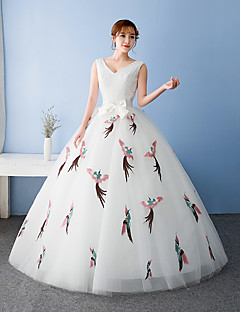 포멀 이브닝 드레스 볼 드레스 V-넥 바닥 길이 튤 져지 와 리본