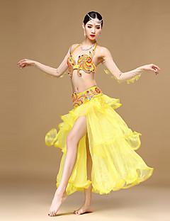 ריקוד בטן תלבושות בגדי ריקוד נשים ביצועים כותנה / פוליאסטר / אורגנזה קריסטלים / rhinestones / קפלים / נצנצים / חזית מפוצלת 4 חלקיםשרוול