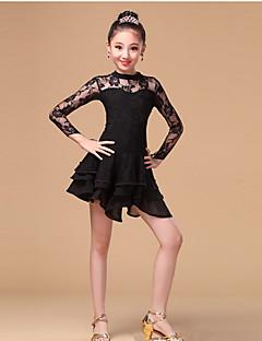 Danse latine Robes Enfant Entraînement Dentelle Fibre de Lait Dentelle Volants 1 Pièce Manche longue Taille haute Robe