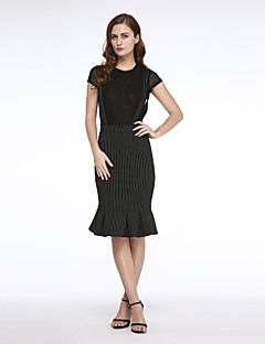 Dámské Velké velikosti / Běžné nošení Délka ke kolenům Polyester Lehce elastické Sukně