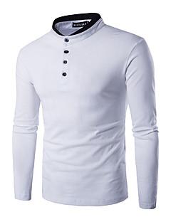 Heren Eenvoudig Lente Herfst T-shirt,Casual/Dagelijks Effen Ronde hals Lange mouw Wit Zwart Grijs Katoen Medium