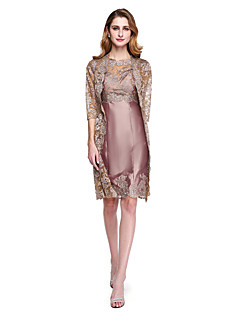 2017 Lanting Bride® Sheath / Column Mother of the Bride Dress - Two Pieces Wrap Included Knee-length 3/4 Length Sleeve Lace Taffeta with