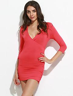 Feminino Camiseta Happy-Hour / Casual Sensual / Simples Primavera / Outono,Sólido Azul / Vermelho / Preto / Roxo Poliéster Decote VManga