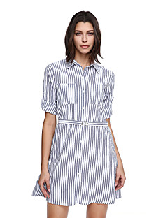 Women's Fine Stripe Going out Casual/Daily Cute Shift Dress,Striped Notch Lapel Above Knee ½ Length Sleeve Gray Cotton Polyester Fall Mid Rise