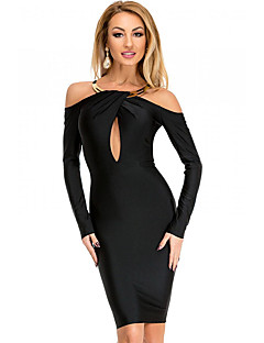 Women's Off The Shoulder|Tassel|Backless Gold Necklace Accent Black Midi Party Dress