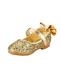 女の子用-ウェディング アウトドア ドレスシューズ カジュアル パーティー-グリッター-フラットヒール-フラワーガールの靴-フラット-ゴールド シルバー