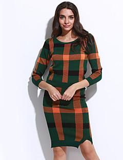 Dámské Pléd Jdeme ven Šik ven Sada Sukně Obleky-Podzim Polyester Kulatý Dlouhý rukáv Modrá Červená Zelená Střední