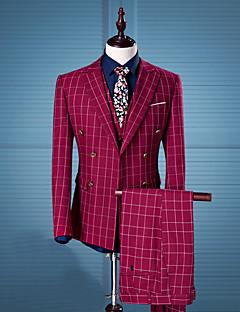 משובץ דש קלאסי פשוטה סגנון רחוב יום יומי\קז'ואל עבודה חליפות גברים,כל העונות שרוול ארוך אדום כותנה