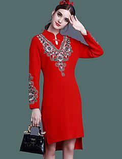 Damen Hülle Kleid-Lässig/Alltäglich Einfach Chinoiserie Stickerei Ständer Asymmetrisch Langarm Rot Schwarz Baumwolle Frühling Herbst