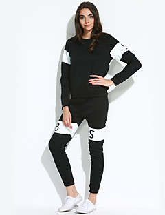 Set Pantalone Suits Da donna Casual / Sportivo Semplice / Attivo Autunno / Inverno,Tinta unita / Monocolore Rotonda Cotone Nero / Grigio