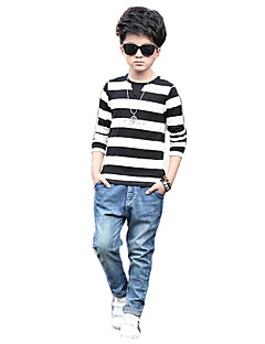 Boy Casual/Daily Striped Tee,Cotton Rayon Spring Long Sleeve