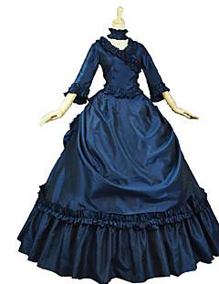 한 조각/드레스 고딕 로리타 클래식/전통적 롤리타 빈티지 스타일 우아한 빅토리안 로코코 프린세스 코스프레 로리타 드레스 플로럴 포엣 긴소매 긴 길이 드레스 용 면 레이스