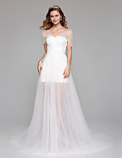 2017 Lanting Bride® A-line Wedding Dress Simply Sublime Floor-length Off-the-shoulder Tulle with Beading