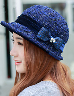 Fashion Lady All-Match British Style Cotton Sequined Bow Basin Hat Winter Fashion Hat Hat Earmuffs