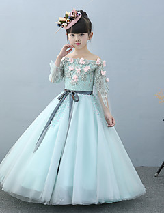 HUA XI REN JIAO A-line Floor-length Flower Girl Dress - Tulle Charmeuse Off-the-shoulder with Beading Flower(s) Lace Sash / Ribbon