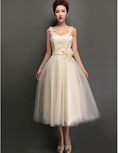 Tea-length Tulle Mix & Match Sets / Lace-up Bridesmaid Dress - A-line High Neck / Jewel / V-neck / Straps with Appliques / Lace