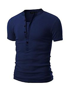 Tee-shirt Hommes,Couleur Pleine Sortie Décontracté / Quotidien simple Eté Manches Courtes Col Arrondi Bleu Blanc Noir Gris Vert Coton