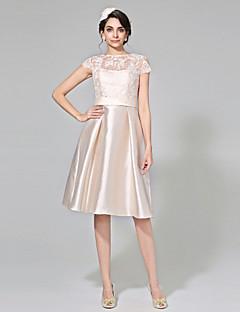 LAN TING BRIDE A-vonalú Esküvői ruha - Elegáns és fényűző Átlátszó Színes menyasszonyi ruhák Térdig érő Csónaknyak Csipke Mikado val vel
