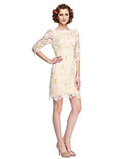 LAN TING BRIDE Sheath / Column Mother of the Bride Dress - Elegant Knee-length Half Sleeve Lace with Appliques
