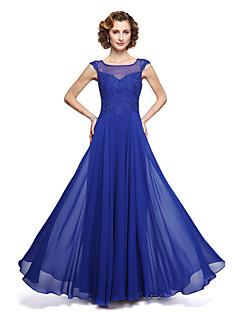 A-linje Besmykket Ankellang Chiffon Blonder Kjole til brudens mor - Appliqué av LAN TING BRIDE®