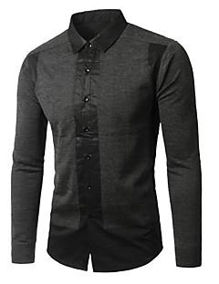 Heren Eenvoudig Lente Herfst Overhemd,Casual/Dagelijks Effen Buttondown boord Lange mouw Zwart Grijs Rayon Medium